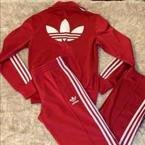 Adidas red and white striped tracksuit